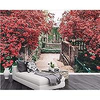 Wuyyii カスタム壁紙家の装飾壁画赤とピンクの木ヨーロッパの庭のリビングルームテレビソファの背景の壁3Dの壁紙B-200X140Cm