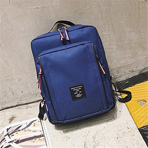 4ed92a708441 リュック リュックサック メンズ レディース 人気 高校生 通学 バックバッグ トレンド大容量リュックサック おしゃれ スクエア 4色選択可能  (ブルー)