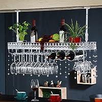 シンプルなスタイルアイロン吊りワイングラスラック天井の装飾棚バー、レストラン、キッチン(60/80 / 100cm) (色 : 白, サイズ さいず : 100 * 32 * 25)