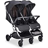 Joovy Kooper X2 Double Stroller, Lightweight Travel Stroller, Compact Fold with Tray, Black