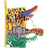 Ajcoflt Baby Tail Cloth Book Jungle Animals Crinkle Soft Cloth Books Learning Animals Colors Touch & Feel Sensory Book Educat