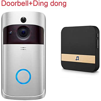 ACHICOO インターホン スマート チャイム ワイヤレス WiFi ドアベル IR ビデオカメラ 録音 ホーム セキュリティ ベル 銀