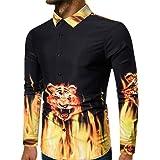 Mens Work Shirt Long Sleeve Button Down Shirt Casual Tiger Print T-Shirt
