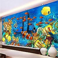 Mingld 写真の壁紙3Dステレオ漫画熱帯魚水中世界の壁画壁紙カスタム不織布壁紙E 3D-400X280Cm
