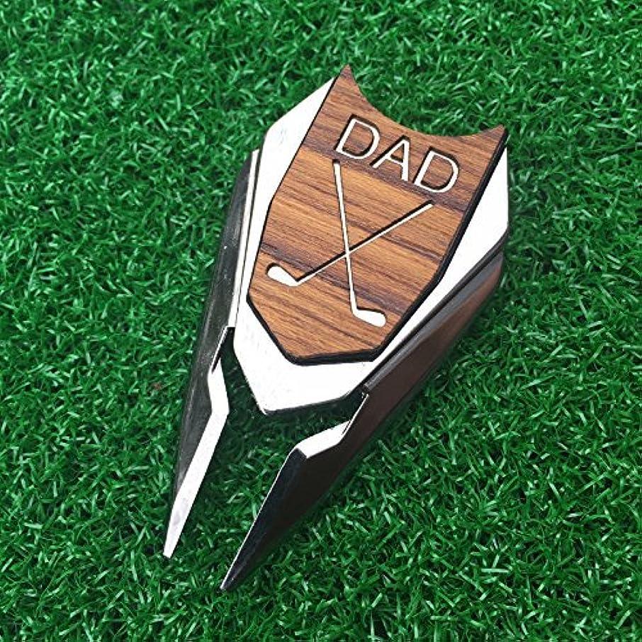 机リボン針DAD 彫刻 ゴルフ ディボットツール ボールマーカー チーク材 父の日用ギフト