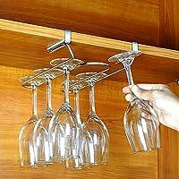 T&B ワイングラスホルダー グラスハンガー ラック ステンレス製 吊り下げ 穴あけ不要 ネジ止め不要 2レーン ロングタイプ (板の厚さが1.7~2.1cmまで対応)