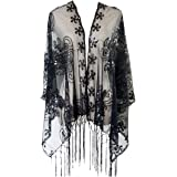 L'vow Women's Glittering 1920s Scarf Mesh Sequin Wedding Cape Fringed Evening Shawl Wrap