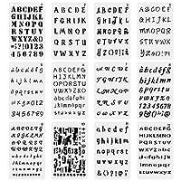 12パックプラスチック文字と番号ステンシルアルファベットステンシル図面ペイントステンシル文字テンプレートセットfor BulletジャーナルSupplies日記ノートブックペイントクラフト、スクラップブックDIY ホワイト