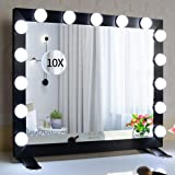 BEAUTME Hollywood Mirror with Lights, Vanity Makeup Mirror Dressing Table/Wall Mounted Lighted Mirror with Dimmer Led Bulbs C