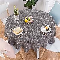 単色 コットンリネン テーブル, な な ラウンド ダイニングテーブル テーブルカバー ソフト 防塵 デスクトップの自家所有者のテーブル クロス-D Diametro260cm(102inch)