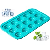 Levivo Silicone Ice Cube Tray for 15 ice Cubes, with Innovative pop-up System, Blue