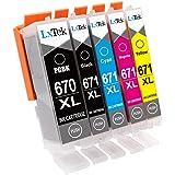 LxTek Compatible Canon 670XL PGI-670 XL 671XL CLI-671 XL Ink Cartridges for Canon PIXMA MG5760 MG5765 MG6860 MG5766 MG6865 MG