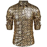 COOFANDY Mens Paisley Shirt Luxury Design Long Sleeve Slim Fit Button Down Shirts