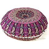 "EYES OF INDIA - 32"" Purple Burgundy Floor Meditation Pillow Cushion Seating Throw Cover Mandala Hippie Round Colorful Decorat"