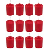 Red Unscented 15 Hours Votive Candles Pack of 12