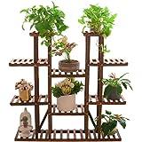 UNHO Wood Plant Stand Ladder Shelf Large Plant Pot Holder Herb Planter Flower Rack for Indoor Outdoor Garden Patio Balcony Li