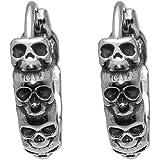 Nsitbbuery Hip Hop Stainless Steel Skull Hoop Earrings