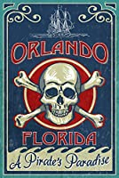 オーランド、フロリダ州 – Skull And Crossbones – Vintage Sign 24 x 36 Giclee Print LANT-51073-24x36