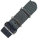 [time+] 20mm NATO G10 バリスティックナイロンストラップ 腕時計ベルト ミリタリーバンド ダークグレ…