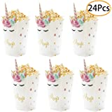24Pcs Unicorn Birthday Party Supplies Unicorn Popcorn Box Snack Treat Box Candy Cookie Container For Baby Shower, Bridal Show