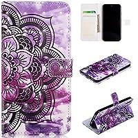 iPhone Xr フリップ カバー, シェル, Moonmini スタンド カード スロット [立つ フィーチャー] レザー 財布 シェル ヴィンテージブック スタイル 磁気 保護 カバー ホルダー の iPhone Xr - Purple Flower