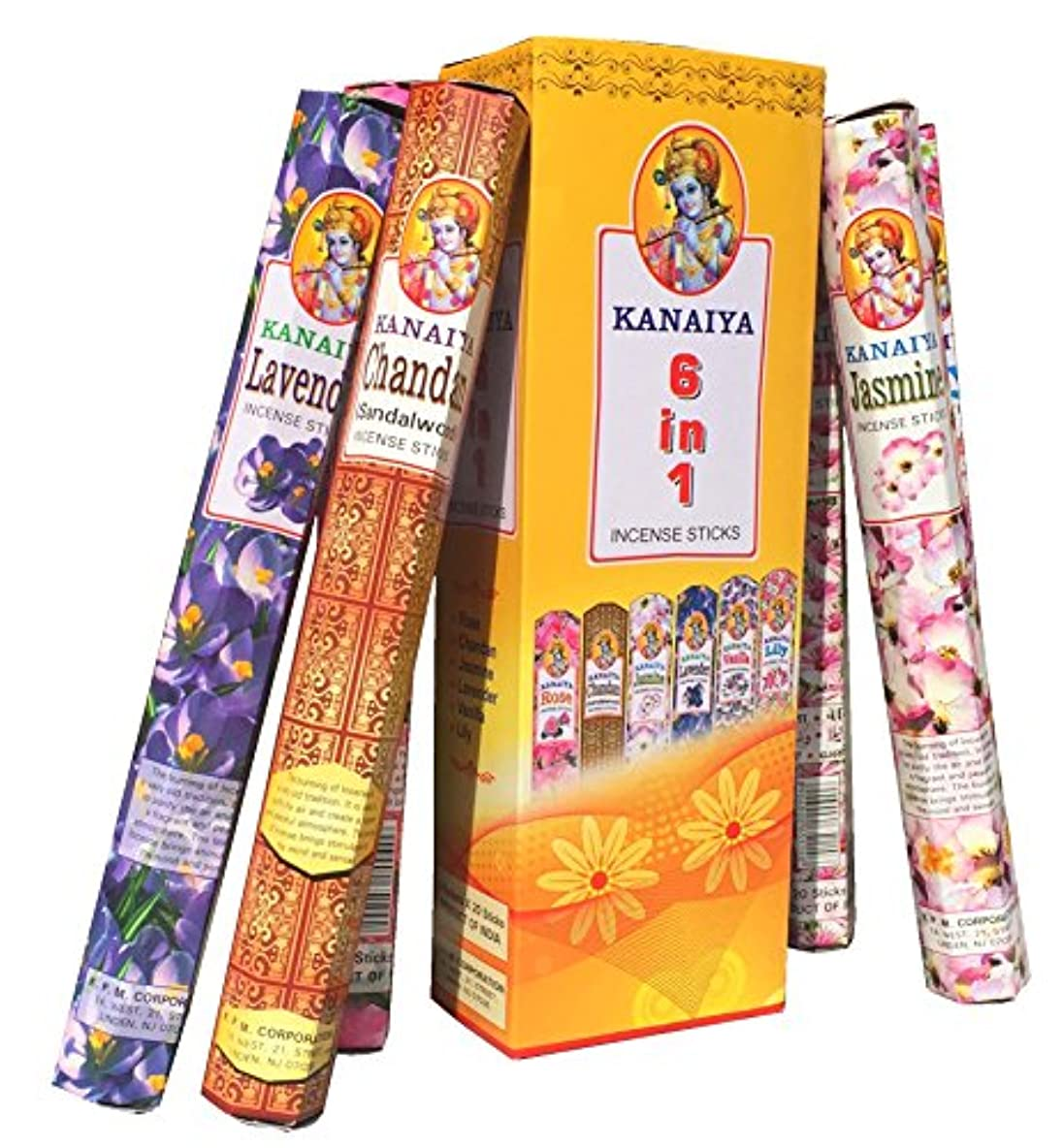 下線逸話優先権Incense Variety Packインドから – 6 Varietals – 120 Sticks – kaniayaブランドby tikkalife