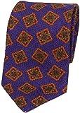 【Paul Stuart】ポールスチュアート イタリア製 紋章柄 ウールネクタイ 紫