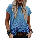 zeyubird Womens Round Neck Floral Printed Top Casual T Shirt Summer Short Sleeve Tee for Women