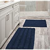 Navy Blue Bathroom Rugs Slip-Resistant Extra Absorbent Soft and Fluffy Thick Striped Bath Mat Non Slip Microfiber Shag Floor
