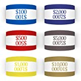 300 Assorted Currency Straps Self Sealing Blank White Currency Bundles Bands Money Bill Band Strap 7.5 x 1.25 Inches (300 Ass