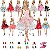 「Barwawa」ランダム5枚セット 人形 バービー 服 ドレス ジェニー 服  ウェア バービー用靴5足 ハンガー5個 ドール用 人形用 アクセサリー ジェニー ドレス  手作り 1/6ドール用 プリンセスドレス (マルチカラー)