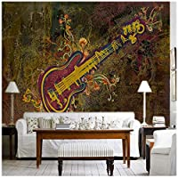 Mrlwy 写真壁紙3D抽象絵画楽器ミュージックホールKTVバーソファティーハウスライブラリguita壁紙壁画-350X250CM