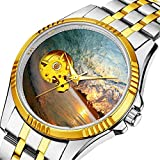 時計、機械式時計 メンズウォッチクラシックスタイルのメカニカルウォッチスケルトンステンレススチールタイムレスデザインメカニ (ゴールド)-875. ノースサンズウェーブサンセット