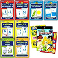 School Zone Spanish Flash Cards Super Set Toddler Kids -- 8 Bilingual Packs and Stickers (ABCs Numbers Colors Shapes Animals and More!) [並行輸入品]