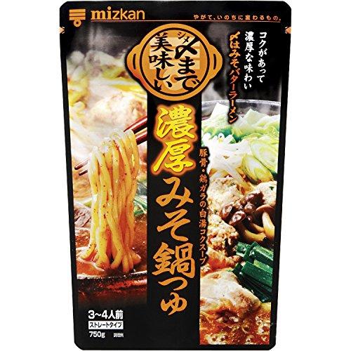 ミツカン 〆まで美味しい 濃厚みそ鍋つゆ ストレート 750g×12袋入