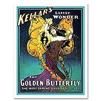Vintage Advert Kellar's Golden Butterfly Illusion Vintage Magic Art Print Framed Poster Wall Decor 12X16 Inch ビンテージ広告ゴールデンバタフライビンテージ魔法ポスター壁デコ
