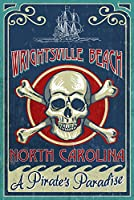 Wrightsvilleビーチ、ノースカロライナ州 – Skull And Crossbones Sign 24 x 36 Giclee Print LANT-53776-24x36