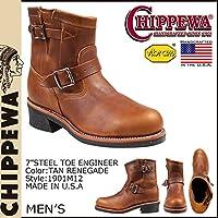 (チペワ)CHIPPEWA 1901M12 7 INCH STEEL TOE ENGINEER 7インチ スティールトゥ エンジニア ブーツ Eワイズ タン (並行輸入品)