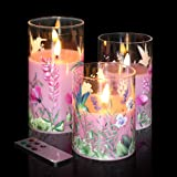 Eywamage Pink Flower Glass Flameless Candles with Remote, Flickering Battery Operated Pillar Candles Set of 3, Unscented Fake