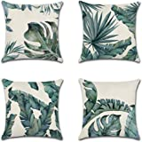 Artscope Set of 4 Decorative Throw Pillow Covers 18x18 Inches, Tropical Plants Waterproof Cushion Covers, Perfect to Outdoor