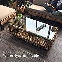 KAGLAB アジアン家具 ローテーブル ウォーターヒヤシンス バリ家具 T137AT アジアン バリ ガラス コーヒー テーブル