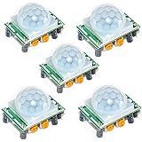 Aideepen 5個 HC-SR501PIR赤外線センサー人体焦電型赤外線モーション検出器PIDモジュール感応器調整可能なIRボディセンサーDiy Kit モジュール Arduino Raspberry Pi用の人感センサースイッチ ボディセンサー