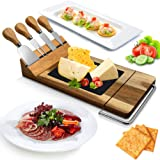 Nutrichef PKCZBD50 Bamboo Board Cutlery Set-Modern Wood Cheese Platter Serving Tray w/Stone Slab Plate, Stainless Steel Knive