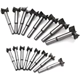 Mengshen Forstner Drill Bits 15-35mm 16PCS, Carbon High Speed Steel Woodworking Hole Saw Punching Bit Wood Slabs Flat Wing Dr
