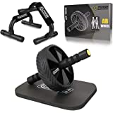 POWER GUIDANCE Ab Wheel Roller with Push Up Bars and Extra Thick Knee Pad-Home Gym & Fitness- Innovative Non-Slip Rubber& Com