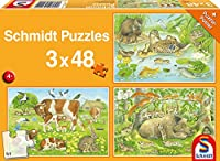 Tierfamilien. 3 x 48 Teile Puzzle
