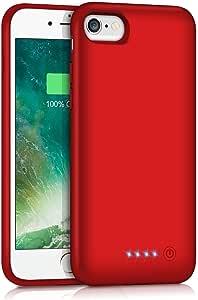 iPhone6/6s/7/8 対応 バッテリーケース 6000mAh 大容量 バッテリー内蔵ケース 急速充電 充電ケース iphone8 対応 ケース バッテリー内蔵 4.7インチ用 (レッド)