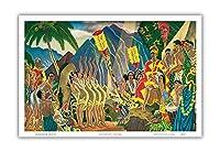 威風堂々 - ハノハノ・ハワイアン・セレモニー - ビンテージな遠洋定期船のメニューの表紙 によって作成された ユージェーヌ・サヴェッジ c.1930s - アートポスター - 23cm x 31cm