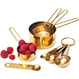 Modern Stainless Steel Measuring Cups and Spoons Set, Gold - Stackable, Stylish, Sturdy Metal Measuring Cups and Metal Measur