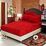 ZHIYUAN バラ柄の赤いボックスシーツ2枕カバーセット, ダブル